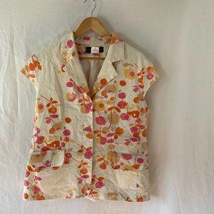 Vintage Harve Bernard Floral Cap Sleeve Top